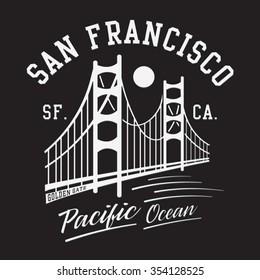 San francisco bridge typography, t-shirt graphics, vectors