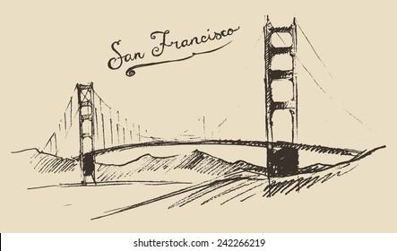 San Francisco bridge, vintage engraved illustration, hand drawn, sketch