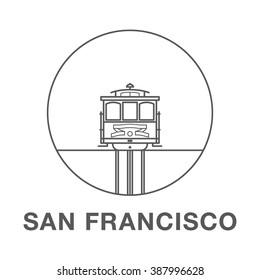 San Francisco Cable Car. World famous San Francisco landmark illustration.