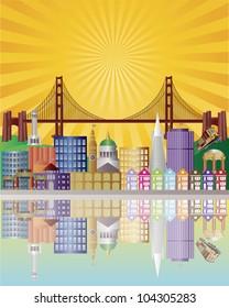 San Francisco California City Skyline with Golden Gate Bridge with Sunrise Background Illustration