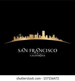 San Francisco California city skyline silhouette. Vector illustration