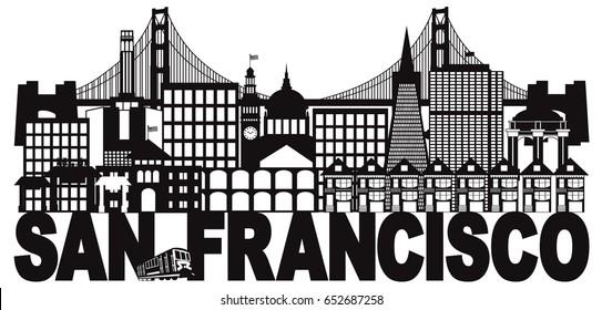San Francisco California City Skyline with Golden Gate Bridge Black and White Text vector Illustration