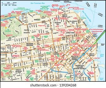 San Francisco, California downtown map