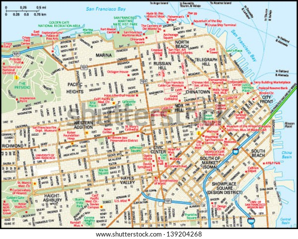 Downtown San Francisco Hotel Map on