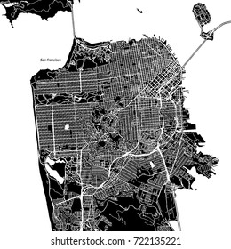 San Francisco, California. Downtown vector map. City name on a separate layer. Art print template. Black and white.