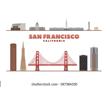 San Francisco California landmark isolated object. Background with city panorama. Travel picture.