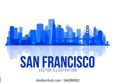 San Francisco California silhouette skyline vector lines illustration. Background with city panorama. Travel picture.