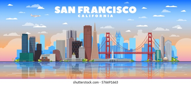 San Francisco California skyline with panorama in sky background. Vector Illustration. Business travel and tourism concept with modern buildings. Image for banner or web site.
