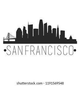 San Francisco California Skyline. Silhouette City Design Vector. Famous Monuments Travel Landmark.