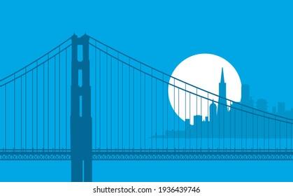 San Francisco California skyline vector illustration