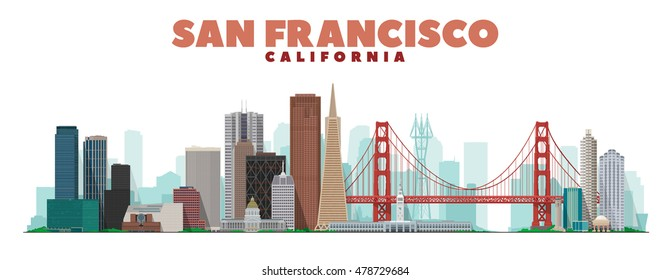 San Francisco California skyline vector lines illustration. Background with city panorama. Travel picture.