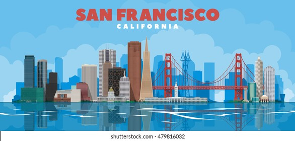 San Francisco California skyline vector lines illustration. Background with city panorama on a blue sky. Travel picture.