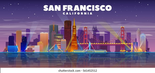 San Francisco (California) skyline vector lines illustration. Background with city panorama on a night sky. Business travel and tourism concept with modern buildings. Image for banner or web site.