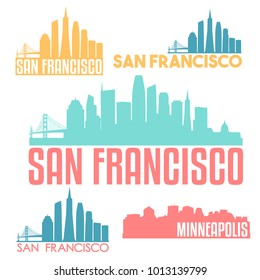 San Francisco California USA Flat Icon Skyline Silhouette Design City Vector Art Famous Buildings Color Set