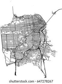 San Francisco, California (USA) streets vector map