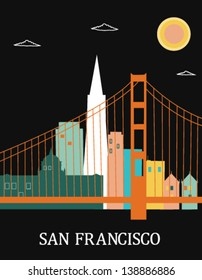 San Francisco California USA. Vector