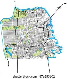 San Francisco, California (USA) vector map