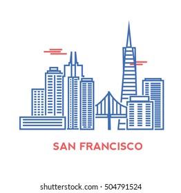 San Francisco city architecture retro vector illustration, skyline city silhouette, skyscraper, stroke design