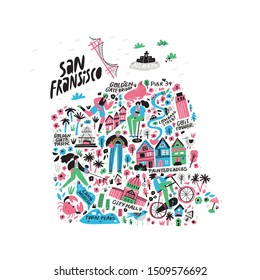 San Francisco city cartoon map vector illustration. California metropolis tourist landmarks, attractions doodle drawings. USA travel flat hand drawn infographic. San Francisco sightseeing places guide