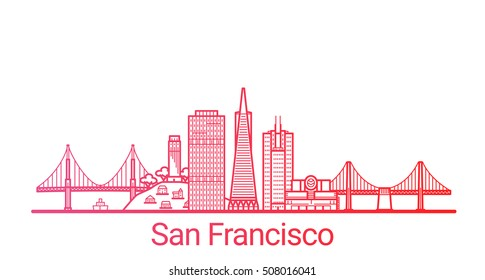 San Francisco city colored gradient line. All San Francisco buildings - customizable objects with opacity mask, so you can simple change composition and background fill. Line art.