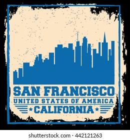 San Francisco City concept. Logo. Label. T-shirt design. SF. Creative poster design.
