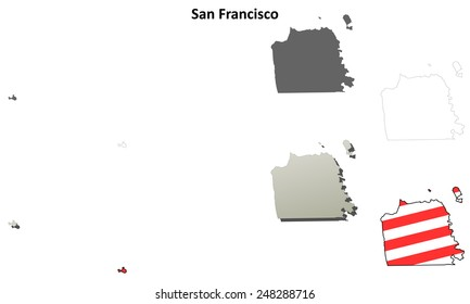 San Francisco City and County (California) outline map set