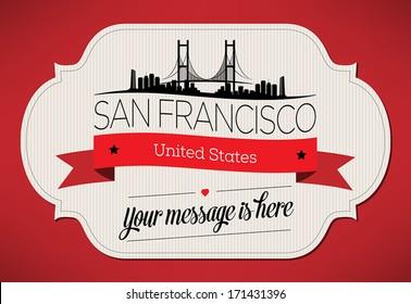 San Francisco City Greeting Card Design Template