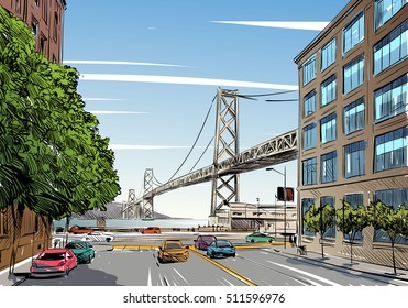 San Francisco city hand drawn. Oakland Bay Bridge sketch, vector illustration