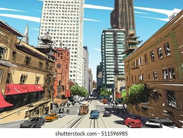 San Francisco city hand drawn. Street sketch, vector illustration