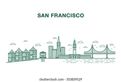 San Francisco city illustration with most famous landmarks made in line art style