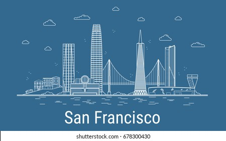 San Francisco city, Line Art Vector illustration with all famous towers. Linear Banner with Showplace. Composition of Modern buildings, Cityscape. San Francisco buildings set