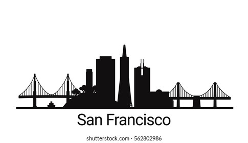 San Francisco city outline skyline. All San Francisco buildings - customizable objects, so you can simple change skyline composition. Minimal design.