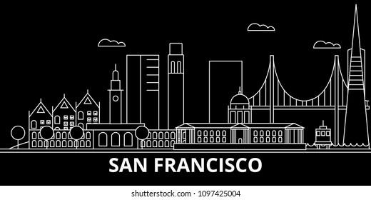 San Francisco city silhouette skyline. USA - San Francisco vector, american linear architecture. San Francisco city travel illustration, outline landmarks. USA flat icon, american line banner