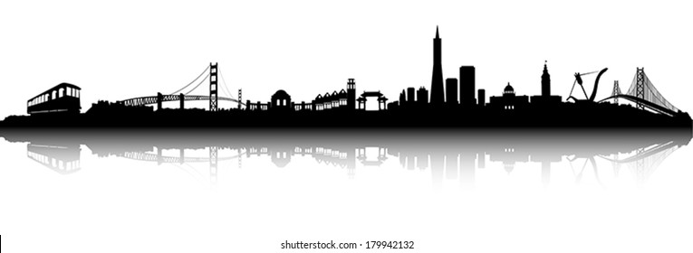 San Francisco City Skyline Black and white Silhouette vector artwork