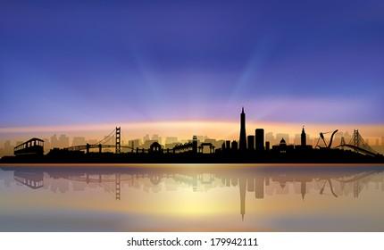 San Francisco City Skyline colorful beautiful Sunset Silhouette vector artwork