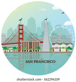 San Francisco city skyline with famous landmarks. Flat style vector illustration.