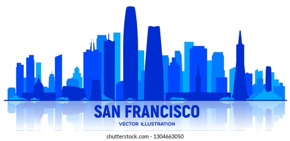 San Francisco city skyline silhouette vector illustration on white background. Business travel and tourism concept with modern buildings. Image for presentation, banner, web site.