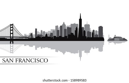 San Francisco city skyline silhouette background. Vector illustration
