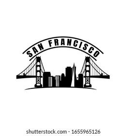San Francisco city skyline silhouette background. Vector illustration