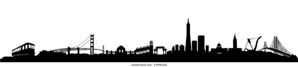 San Francisco City Skyline Silhouette vector artwork