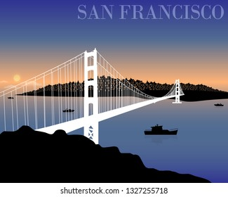 San Francisco city skyline. Vector illustration