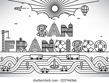 San Francisco City Typography Design with Building Letters