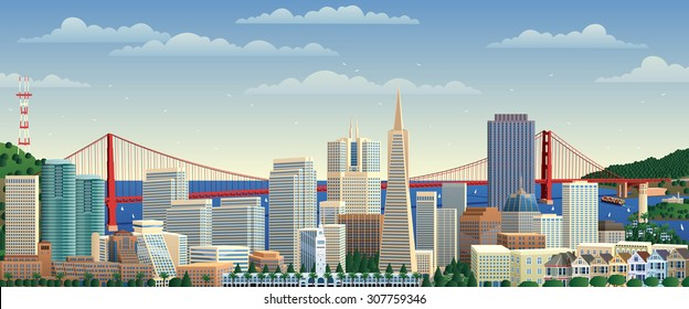 San Francisco cityscape. No transparency used. Basic (linear) gradients.