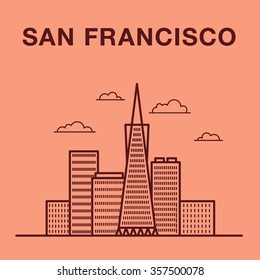 San Francisco cityscape with skyscrapers. San Francisco vector landmark illustration.