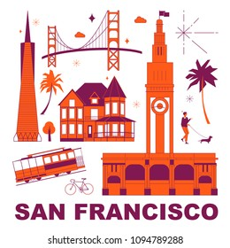 San Francisco culture travel set, famous architectures, specialties in flat design. Business travel and tourism concept clipart. Image for presentation, banner, website, advert, flyer, roadmap, icons