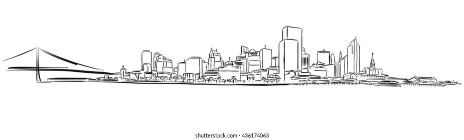 San Francisco Downtown Outline Sketch, Hand-drawn Vector Artwork