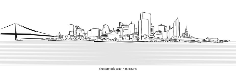 San Francisco Downtown from Pier Sketch, Hand-drawn Vector Artwork
