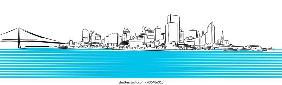 San Francisco Finance District Sketch, Hand-drawn Vector Artwork