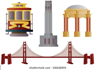 San Francisco Golden Gate Bridge Trolley Coit Tower and Palace of Fine Arts Illustration