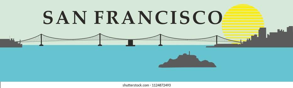 San Francisco golden gate bridge graphic design vector art